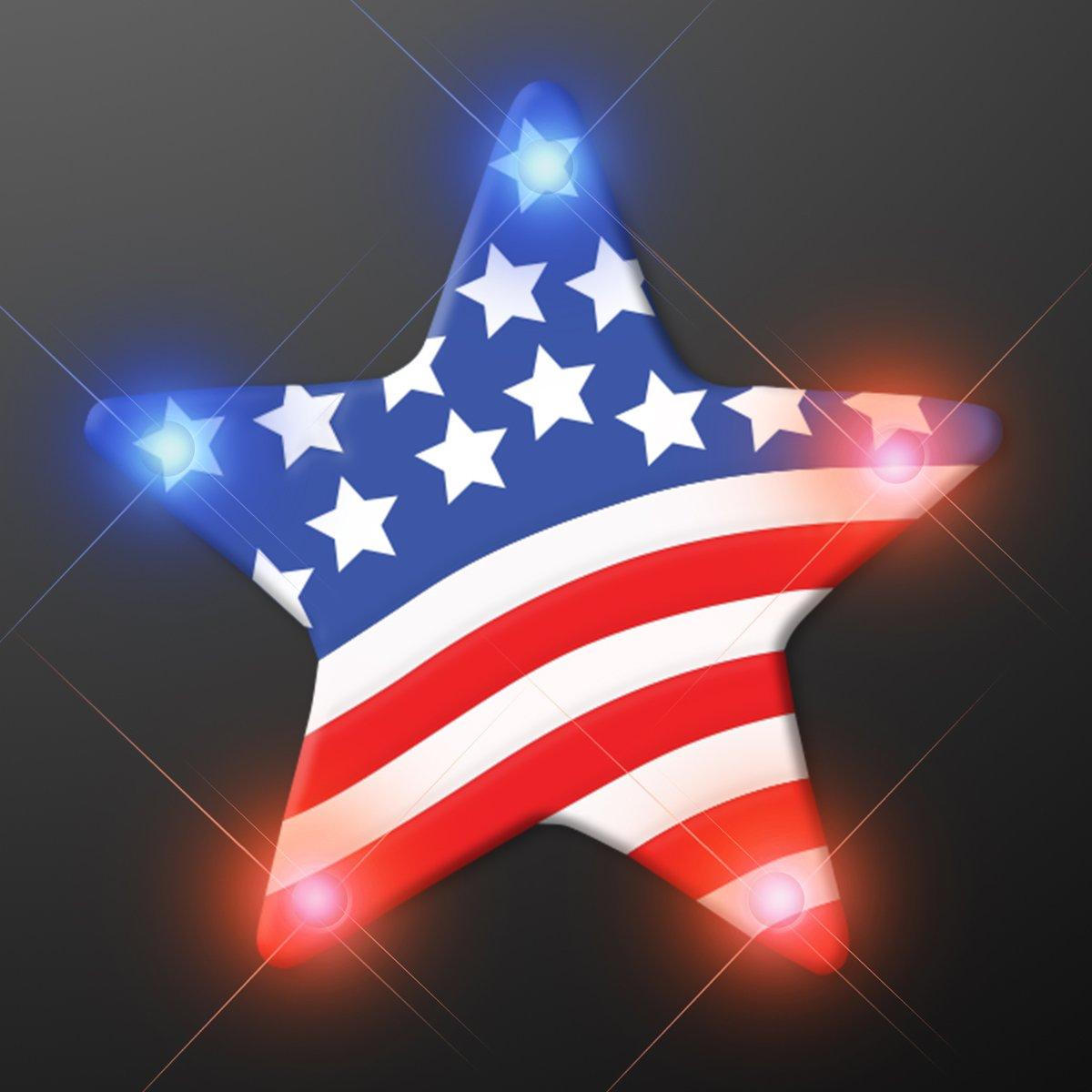 US Flag Star Blinking Light Pins