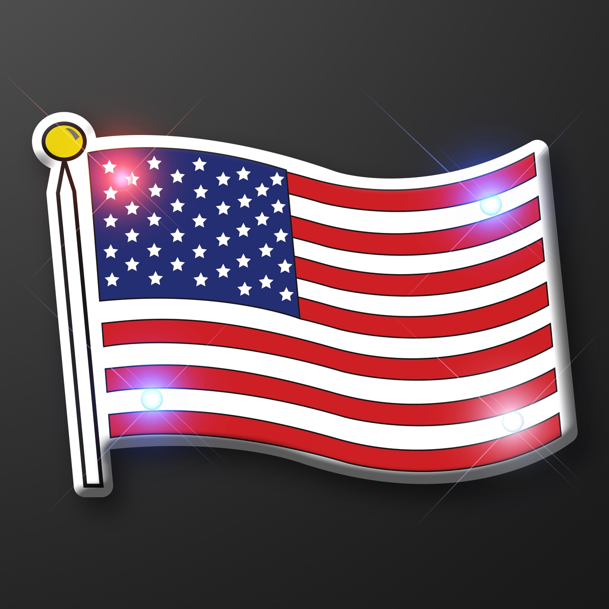American Flag Flashing Blinky Pin