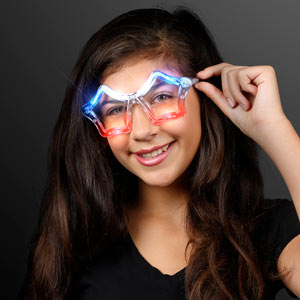red, white and blue light up, flashing sunglasses