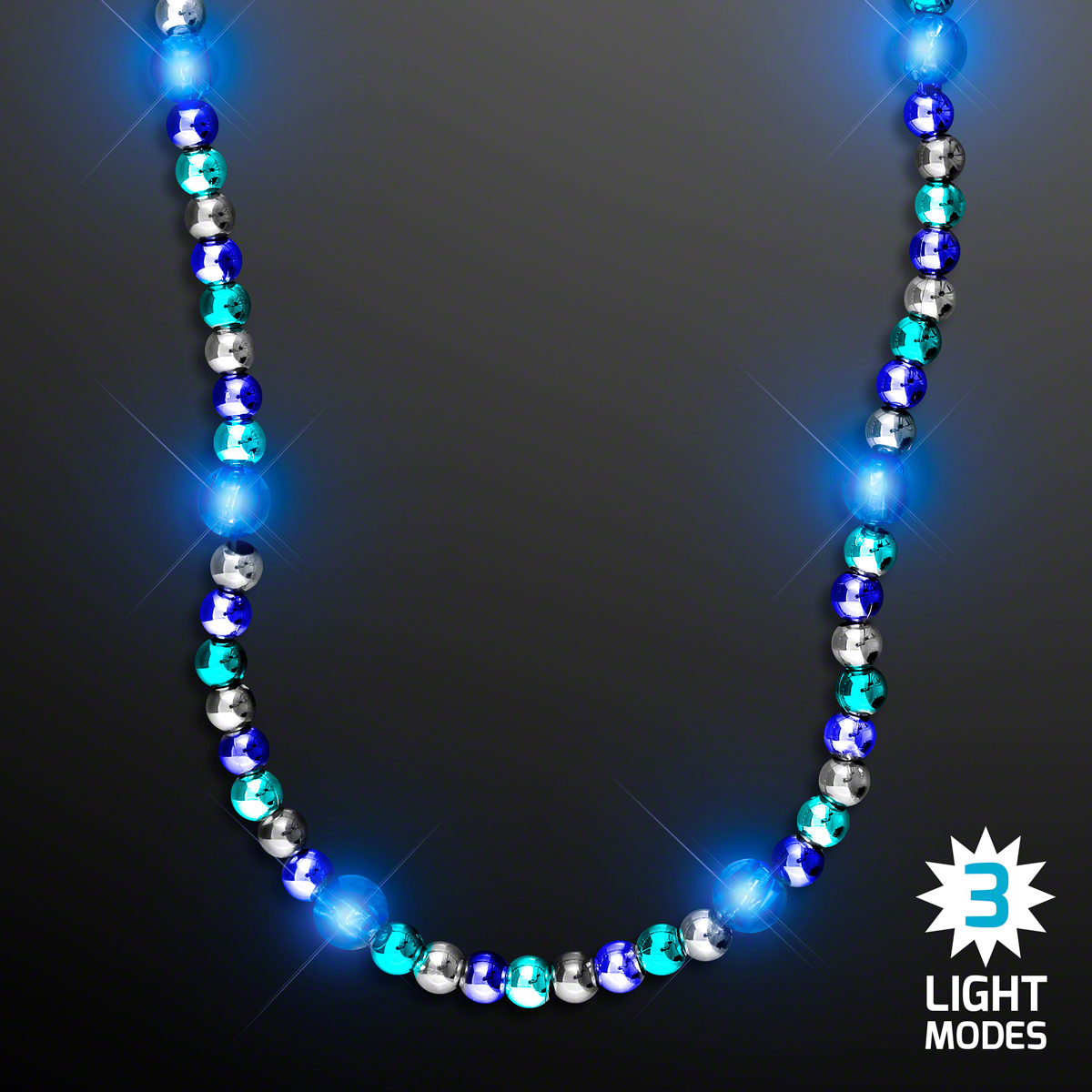 Woman wearing Deluxe Blue Light Up Beaded Necklace