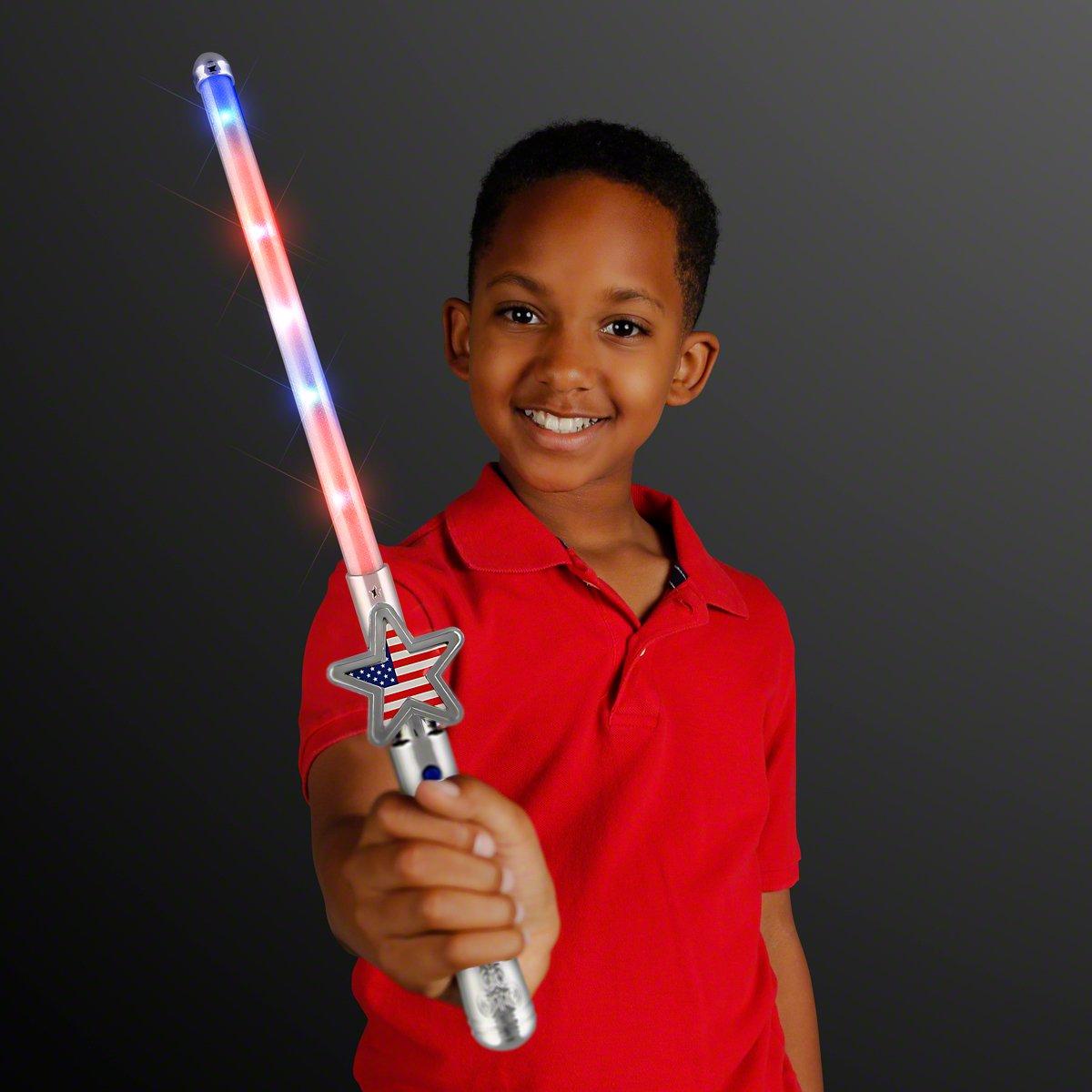 Light Up American Flag Star Light Stick Wand