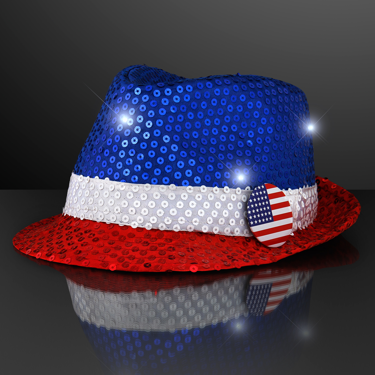 Light Up Sequin Red White & Blue Fedora Hat