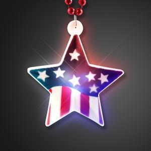 Light Up Flag Star on Red White & Blue Mardi Gras Beads
