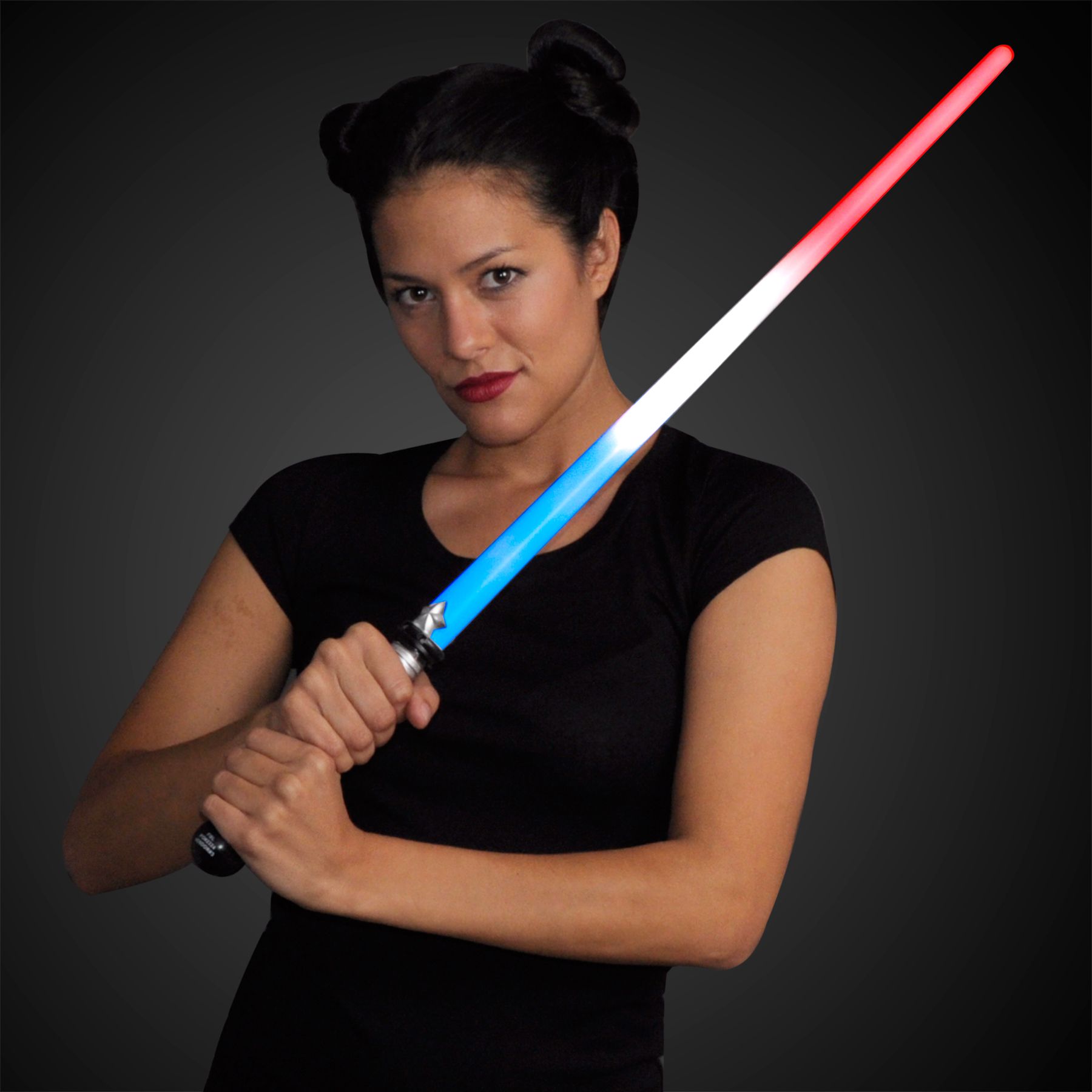 Model displaying the Light Up Red White & Blue American Sword Saber