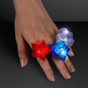 Hand Model displaying Red, White & Blue LED Star Bling Rings