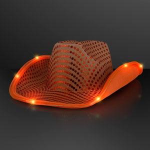 Light Up Shiny Orange Cowboy LED Hat