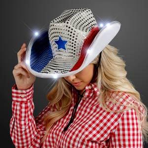 Red White & Blue LED Light Up Cowboy Hat