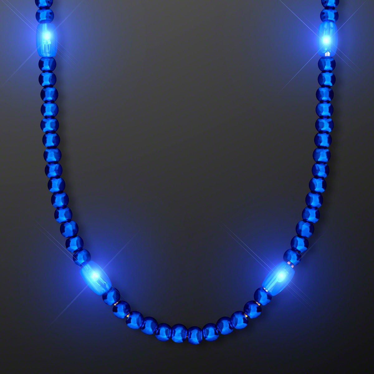Blue LED Light Up Mardi Gras Bead Necklace