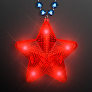 Red LED Twinkle Star on Blue Party Beads