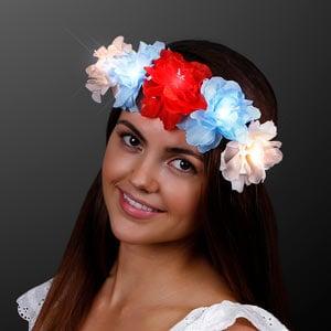 Red, White, Blue Light Up LED Flower Crown
