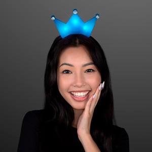Woman displaying Blue Light Up Crown Tiara LED Headband