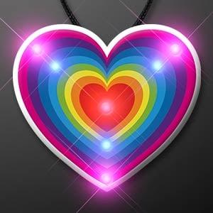 Retro Rainbow Heart Light Up Blinky Necklace