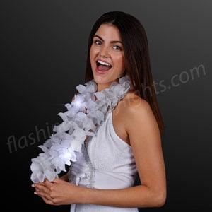 Female model displaying White Light Up Hawaiian Lei