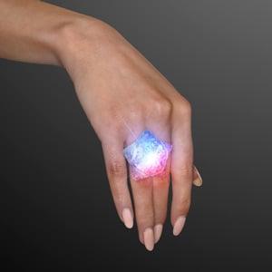 Light Up Red White & Blue Crystal Star LED Ring