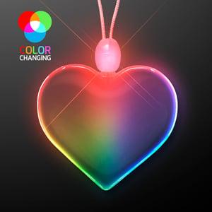 Rainbow Lights Acrylic Heart LED Necklace