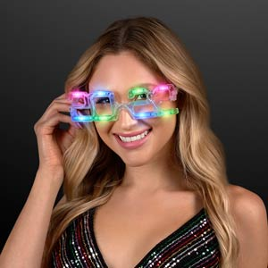 Woman wearing 2022 Light Up New Year Party Glasses
