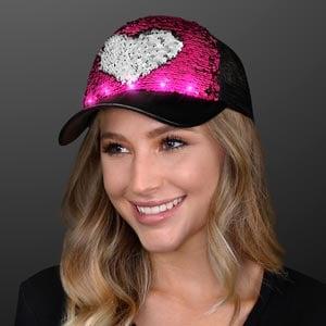 Pink Blinky Lights Reversible Sequin Hat