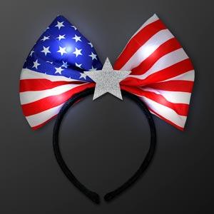 Light Up USA Flag Bow LED Headband