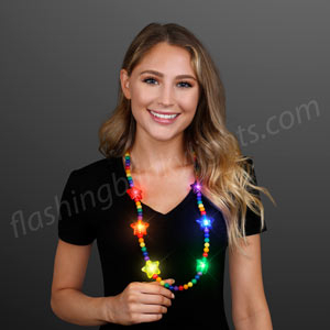 Woman wearing Light Up Rainbow LED Star Beaded Necklace
