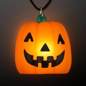 Light Up Orange Pumpkin Necklaces