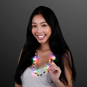 Woman displaying Light Up Multicolor Beads Party LED Necklace
