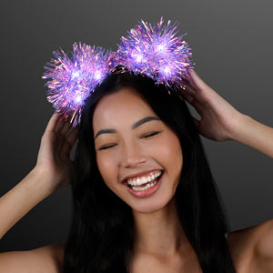 Woman displaying Light Up Sparkle Iridescent LED Pom Ears