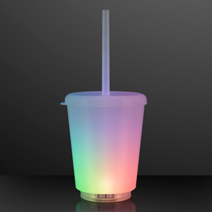 LED Short Tumbler with Lid and Straw
