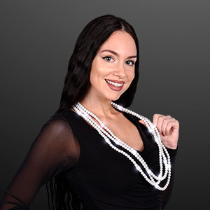 Woman displaying Light Up White Beaded Necklace, No-Flash