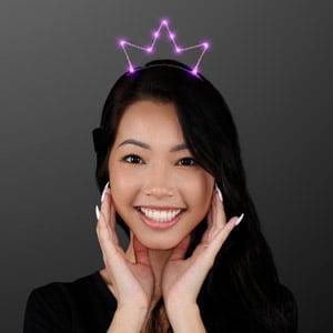 Woman wearing Pink LED Starlight Crown Princess Tiara