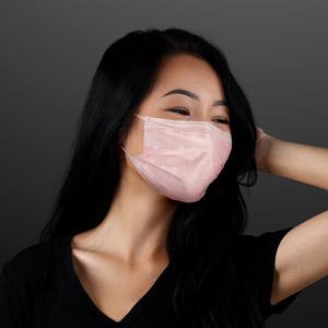 Woman displaying Pastel Pink & White Flowers Disposable Mask