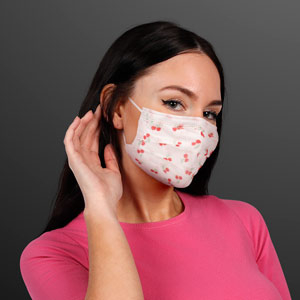 Woman displaying Cute Cherries Disposable Mask