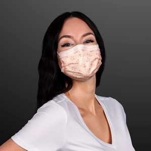 Model wearing Flower Clusters Pink Disposable Mask
