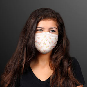 Girl wearing Flower Clusters White Disposable Mask