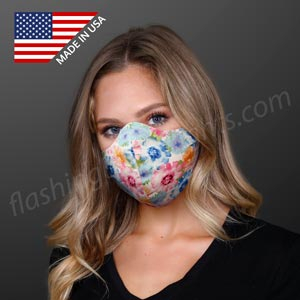 Woman wearing Reusable Protective Flower Cotton Mask