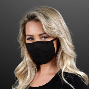 Woman wearing Reusable Medium Black Cloth Face Mask