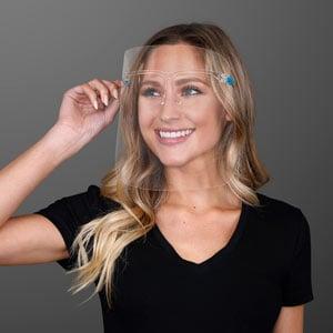 Woman wearing Anti-Fog Safety Shield Glasses