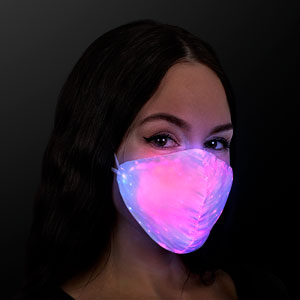 Woman wearing Light Up Multicolor Rechargeable LED Face Mask