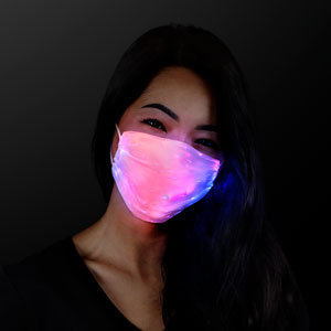 Woman wearing White Rechargeable Light Up Face Mask