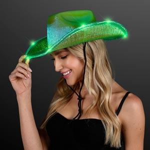 Iridescent Green Light Up Space Cowgirl Hat