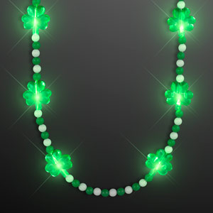 Pretty Light Up Shamrock Bead Necklace