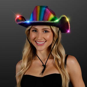 Light Up Cowboy Hat Shiny Rainbow Hat
