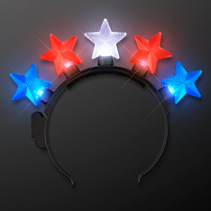 Light Up Stars Headband Red, White & Blue