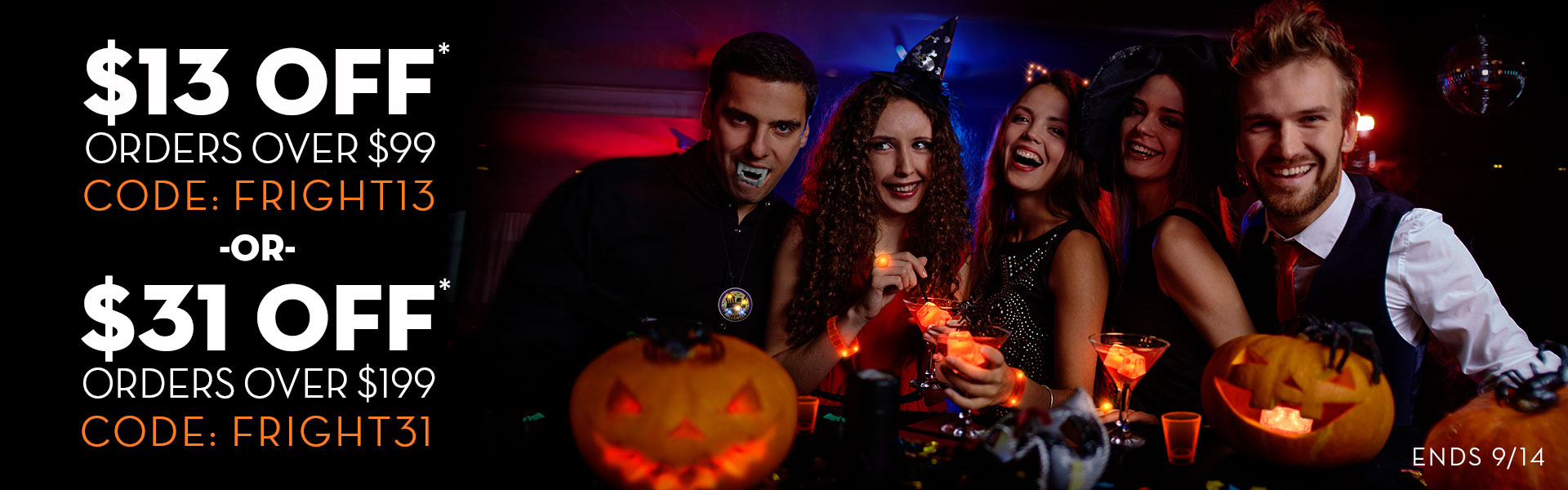 Male and Female model displaying light up Halloween Products