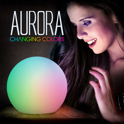 Female displaying light up color changing deco ball