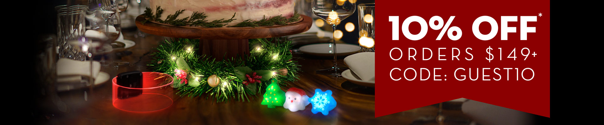 Holiday dinning table with Light Up Christmas toys and decoration