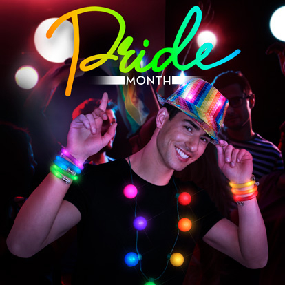 Male weairing multicolored, rainbow themes light up products at party