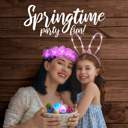 Mother and daughter celebrating Easter with light up wearable products.