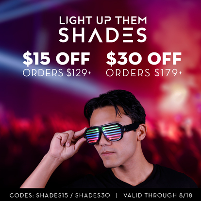 Man wearing light up rave shades
